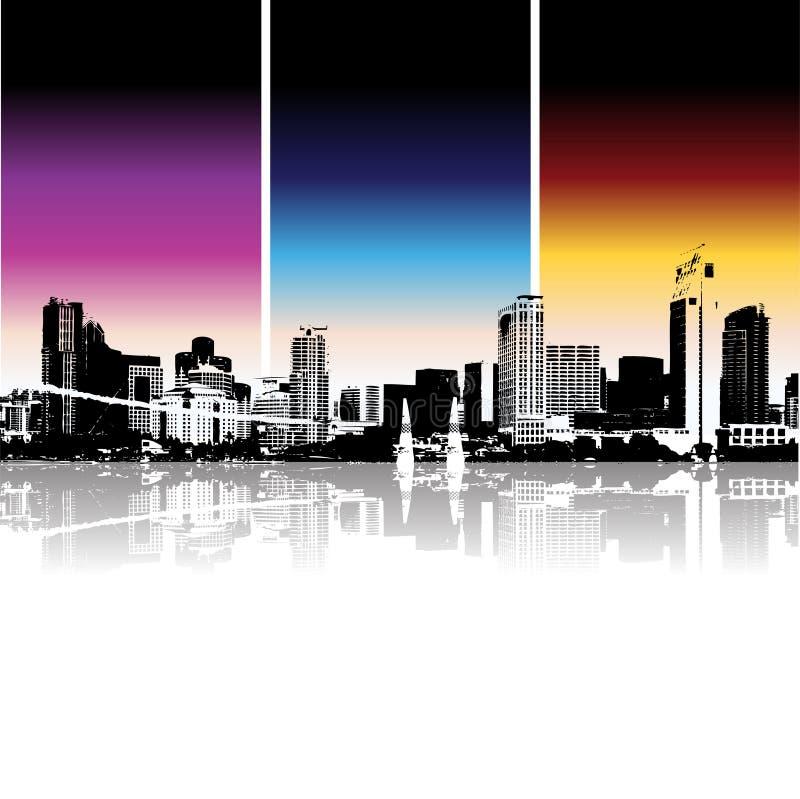 都市背景的都市风景 向量例证