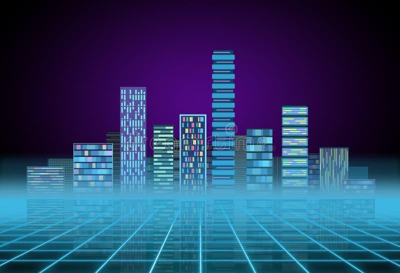 都市背景:霓虹焕发的未来派高科技城市 Synthwave、retrowave、抽象大都会和原始 免版税库存图片