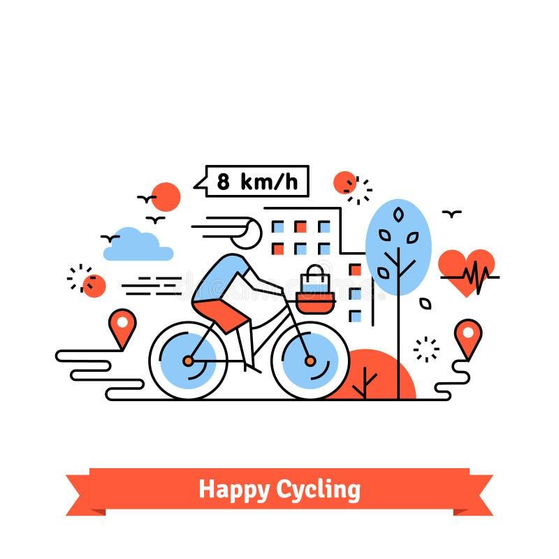 都市自行车道路愉快的循环的妇女 皇族释放例证