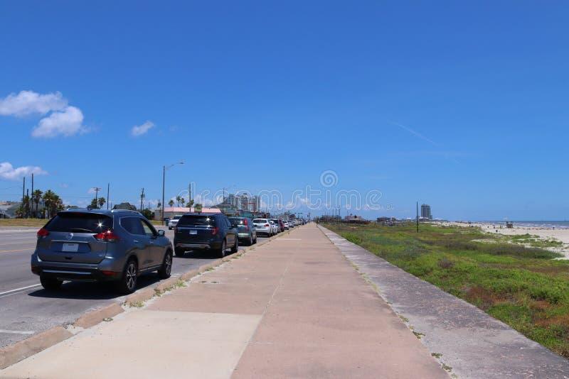 都市街道场面在得克萨斯,美利坚合众国 大道在加尔维斯顿,得克萨斯,孤立星状态 库存图片