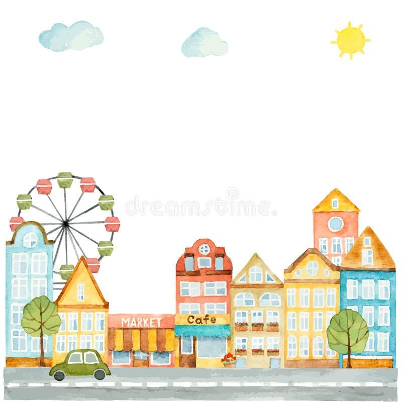 都市设计的水彩元素,房子,汽车 向量例证