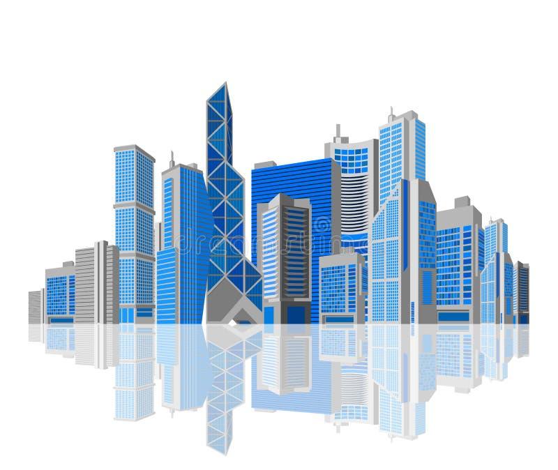 企业题材。 白色背景的摩天大楼。 库存例证