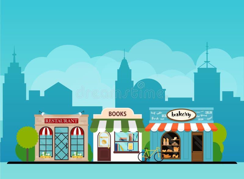 都市风景书店,面包店,餐馆 平的设计方式 向量例证