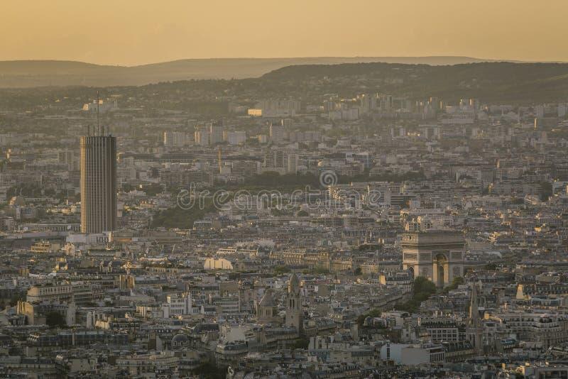 都市风景从上面在金黄小时 图库摄影