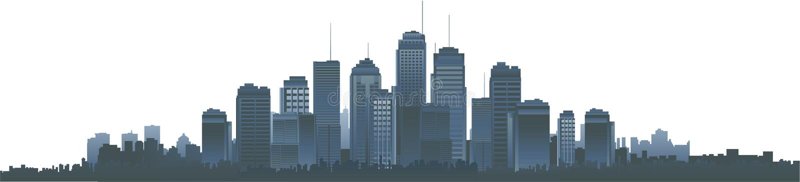 都市风景剪影向量 库存例证