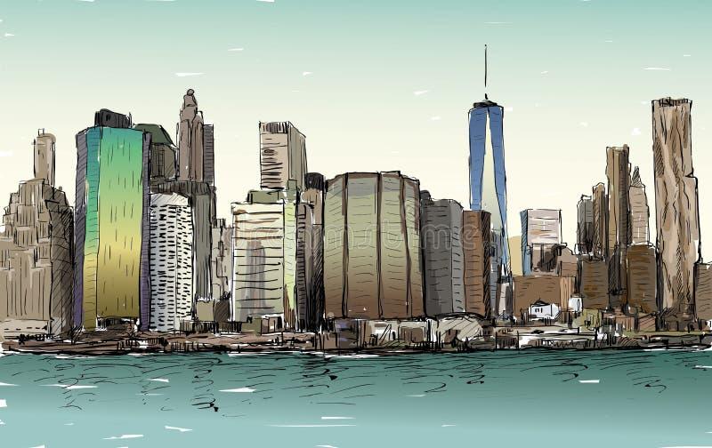 都市风景剪影在纽约展示曼哈顿中间地区 库存例证
