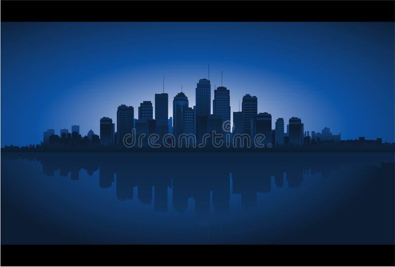 都市风景反映水 皇族释放例证