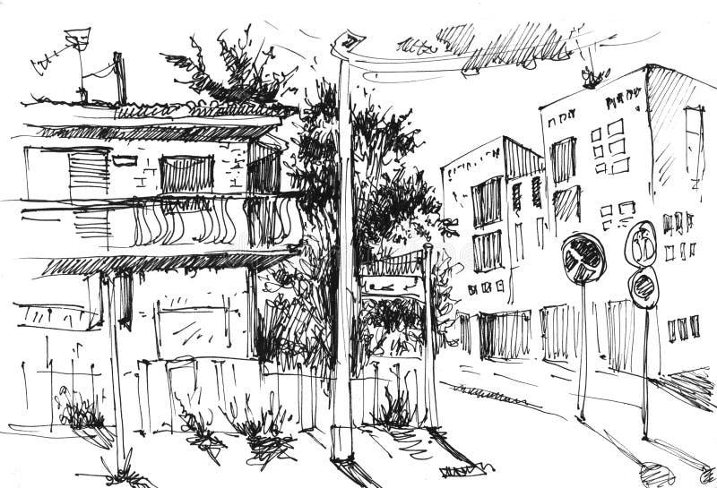 都市风景在手中被画的墨水线型 在白色背景的老城市街道剪影 例证 皇族释放例证