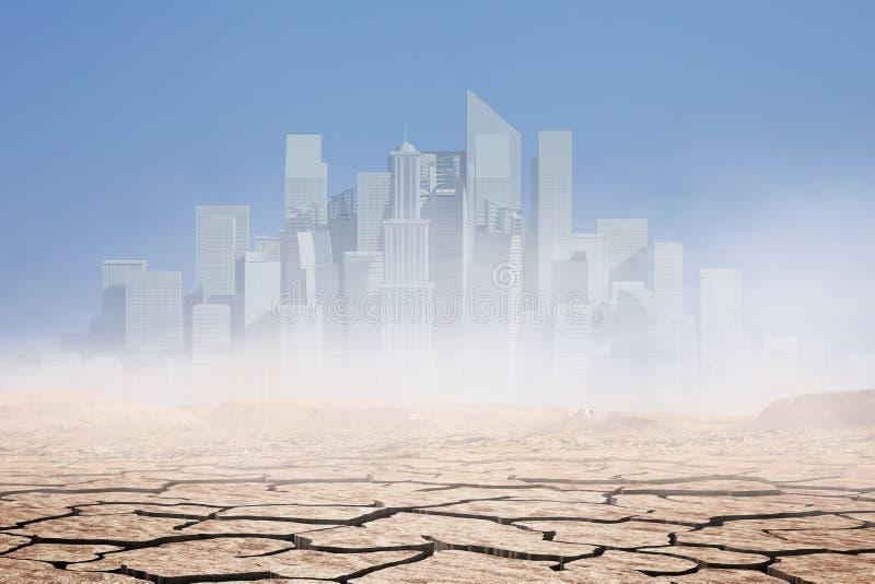 都市风景在沙漠 混合画法 库存图片