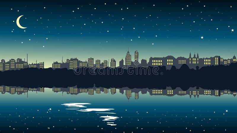 都市风景在湖附近的晚上 向量例证