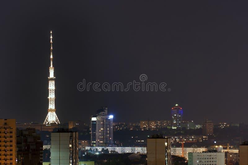 都市风景基辅晚上 库存图片