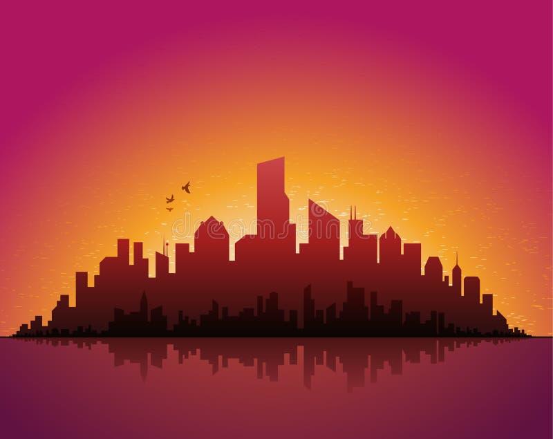 都市风景夜间 向量例证