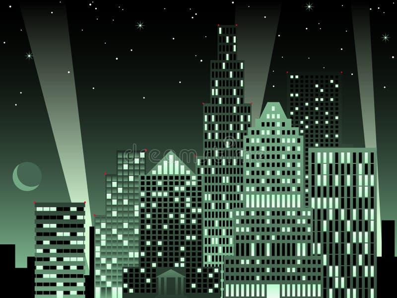都市风景夜间 皇族释放例证