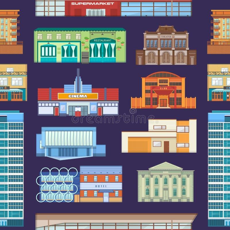 都市风景大厦门面与摩天大楼的导航newbuild的购物中心和建筑企业officebuilding的公寓 向量例证