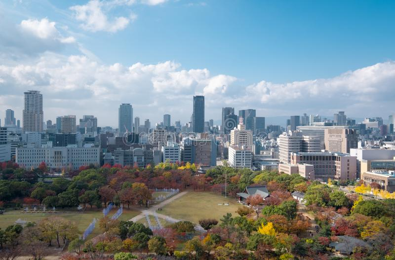 都市风景大阪,一一个美好的专区在日本 免版税库存照片