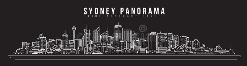 都市风景建筑限界艺术传染媒介例证设计-悉尼市全景 皇族释放例证