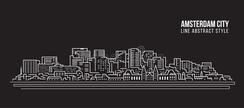 都市风景建筑限界艺术传染媒介例证设计-阿姆斯特丹市 皇族释放例证