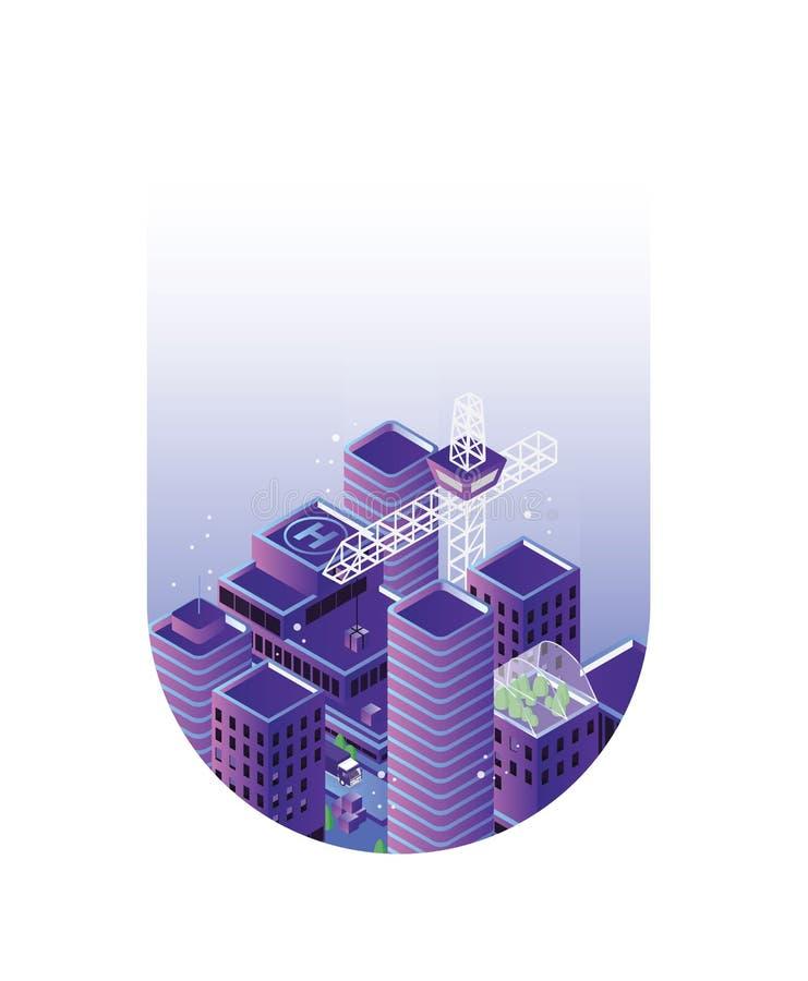 都市风景或都市风景与大厦或摩天大楼和起重机在下落或一滴里面 城市发展和 向量例证