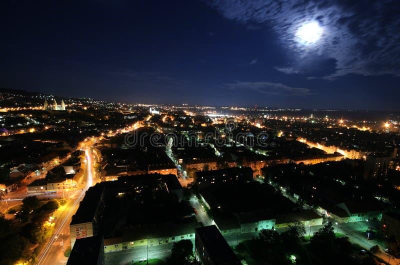 都市风景月光 免版税库存照片