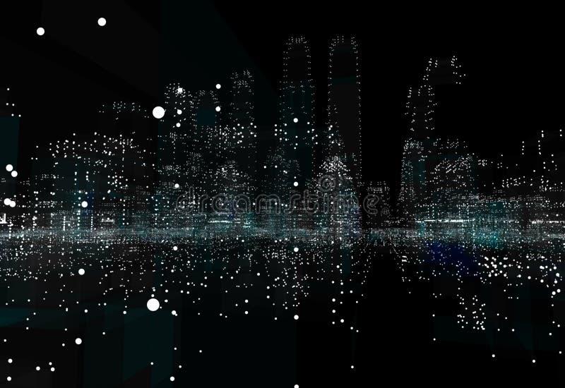 都市风景未来派3d城市霓虹灯 皇族释放例证
