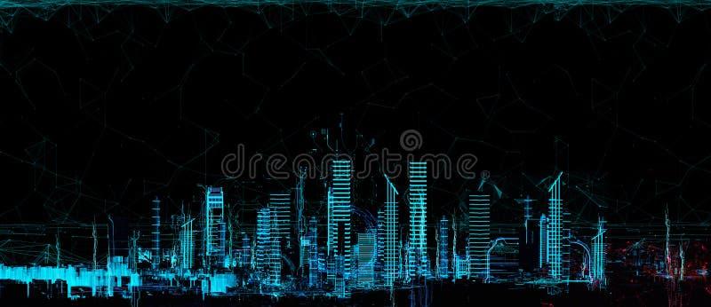 都市风景未来派3d城市霓虹灯 向量例证