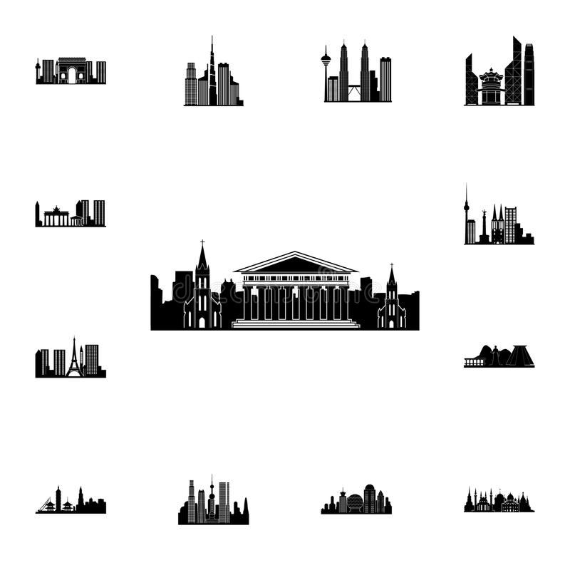 都市风景比萨象 详细的套都市风景象 优质质量图形设计标志 其中一个网站的汇集象 库存例证