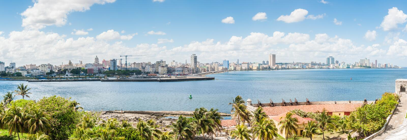 都市风景的全景在哈瓦那,古巴 库存照片