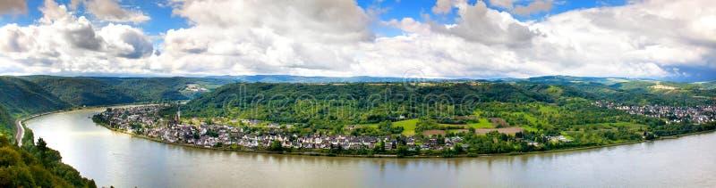 都市风景的全景在莱茵河的 图库摄影