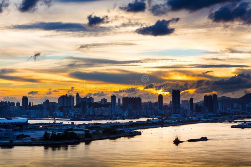 都市风景的剪影 免版税库存图片
