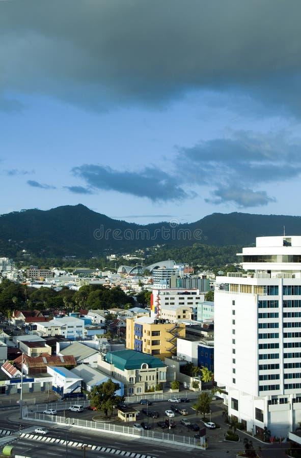 都市风景端口地平线西班牙特立尼达 免版税图库摄影