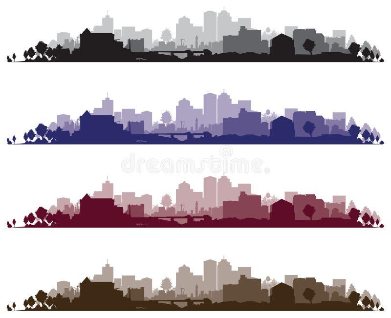 都市风景背景 向量例证