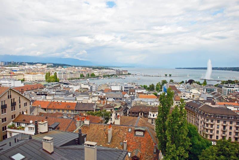 都市风景莱芒湖,瑞士视图和海岸线  图库摄影