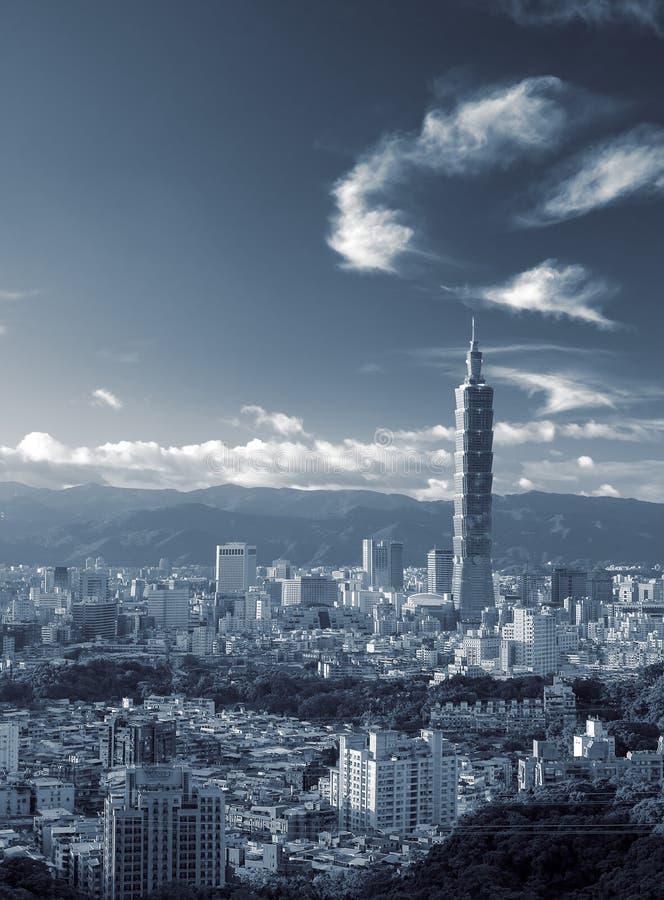 都市风景覆盖地平线台北 库存照片