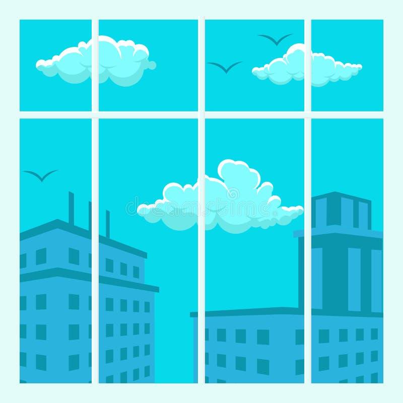 都市风景视图设计平的传染媒介例证 向量例证