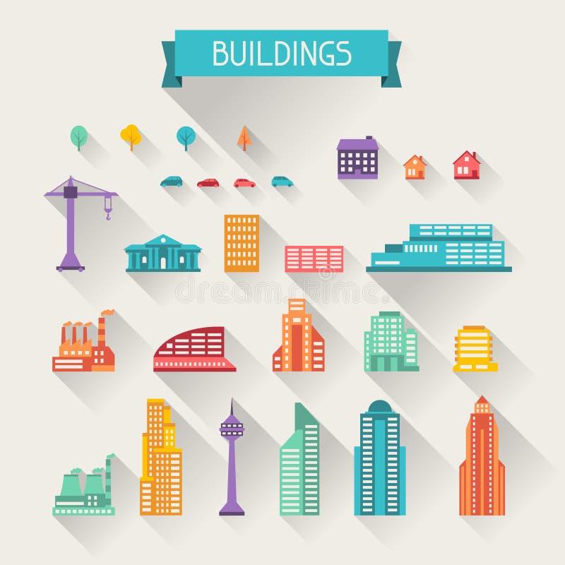 都市风景象套大厦 向量例证