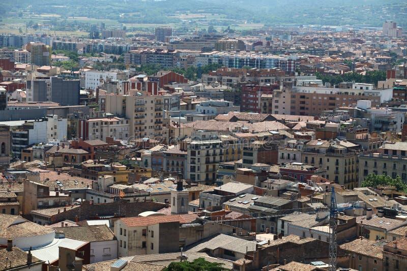 都市风景郊区从鸟` s眼睛视图的巴塞罗那视图 免版税库存图片