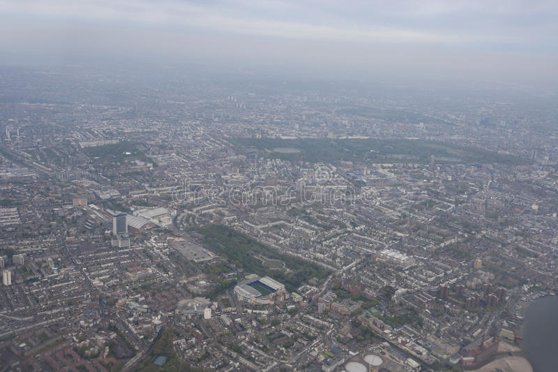 都市风景,伦敦,英国鸟瞰图  免版税库存照片