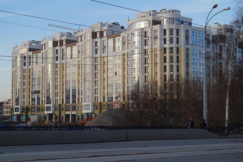 都市风景:住宅复合体'里维埃拉的'建筑,34a高尔基街 图库摄影