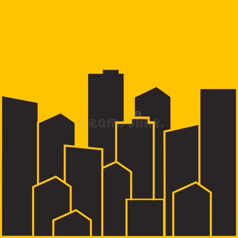 都市风景 城市现代大厦,安置区,镇家 也corel凹道例证向量 皇族释放例证