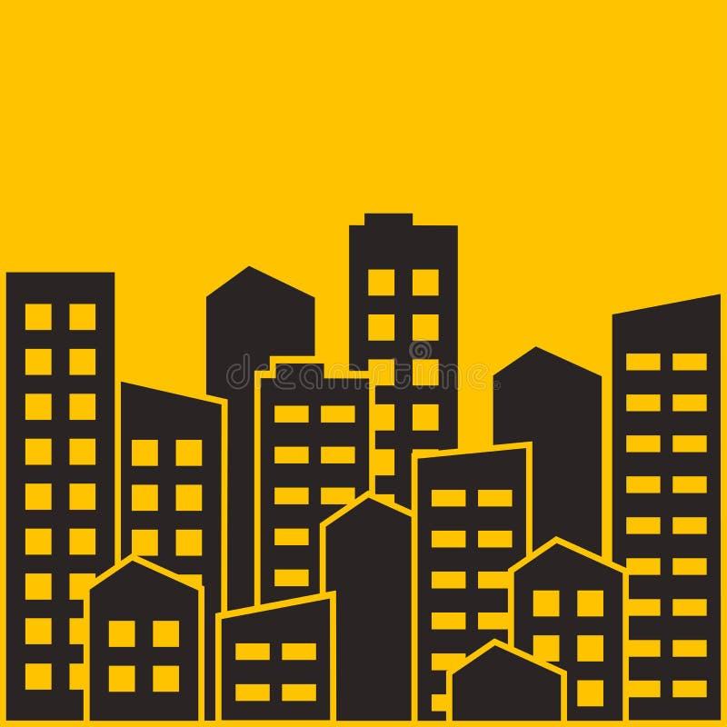 都市风景 城市现代大厦,安置区,镇家 也corel凹道例证向量 库存例证