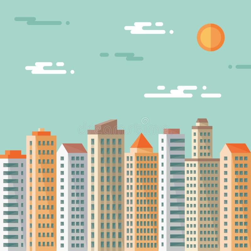 都市风景-抽象大厦-传染媒介在平的设计样式的概念例证 房地产平的例证 向量例证