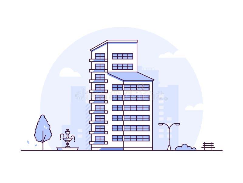 都市风景-现代稀薄的线设计样式传染媒介例证 皇族释放例证