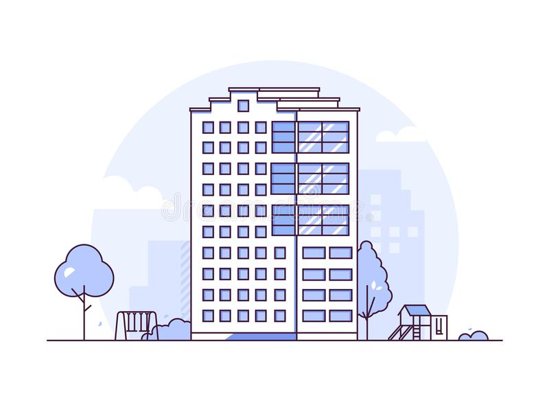 都市风景-现代稀薄的线设计样式传染媒介例证 库存例证