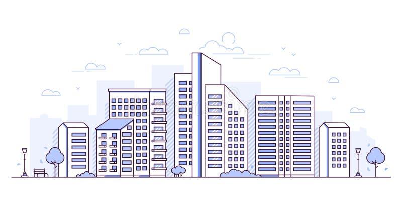 都市风景-现代稀薄的线设计样式传染媒介例证 向量例证