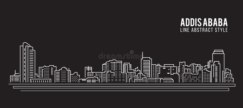 都市风景建筑限界艺术传染媒介例证设计-亚的斯亚贝巴市 皇族释放例证