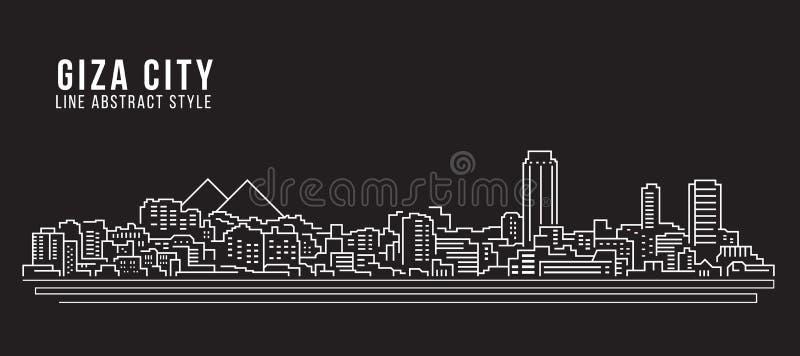 都市风景建筑限界艺术传染媒介例证设计-吉萨棉市 皇族释放例证