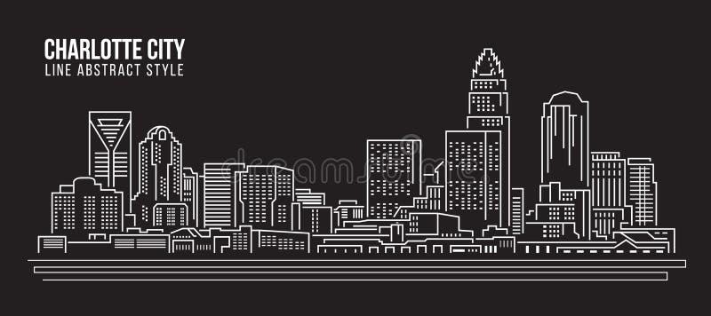 都市风景建筑限界艺术传染媒介例证设计-夏洛特市 皇族释放例证