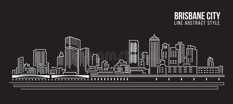 都市风景建筑限界艺术传染媒介例证设计-布里斯班市 库存例证