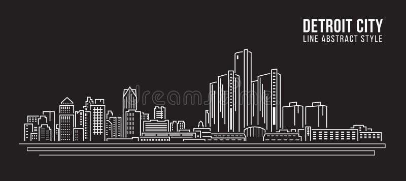 都市风景建筑限界艺术传染媒介例证设计-底特律市 库存例证
