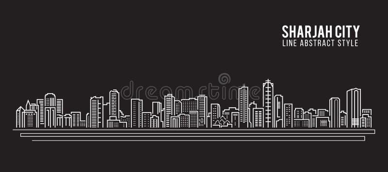 都市风景建筑限界艺术传染媒介例证设计-沙扎市 向量例证
